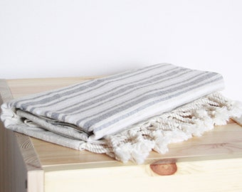 Bath Towel / Beach Towel , Turkish Bath Towel...Linen - Cotton PESHTEMAL Cream-Gray
