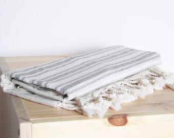 Bath Towel / Beach Towel , Turkish Bath Towel...Linen - Cotton PESHTEMAL Cream-Gray