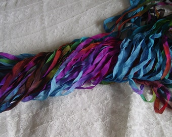 NeW - Hand Dyed Ribbon - OVER THE RAINBOW2 quarter inch wide ribbon, 5 yards