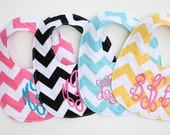 FOUR Custom bibs, Personalized bib, Monogrammed bib, Baby shower gift, Seersucker bib, You Customize