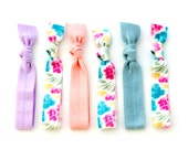 The Whimsy Package - 6 Elastic Floral Pastel Patterned Hair Ties that Double as Bracelets by Mane Message on Etsy