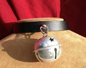 Shiny 1.5 inch Silvery White Bell on Black Leather Choker