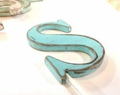 Letter S cake topper shabby beachy wedding decor Light Turquoise or you choose color