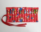 Crayon Roll, Children's Art Supplies, Arts and Crafts, Retro Red, Handmade by Knotted Nest