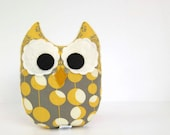 Owl Plush Mini Pillow Toy Minky Yellow Ivory Grey Nursery Decor
