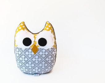 Owl Plush Mini Pillow Toy Minky Yellow Gray Nursery Decor Ready to Ship