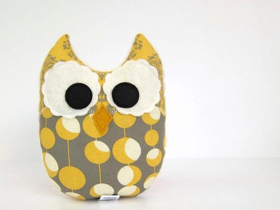 Owl Plush Mini Pillow Toy Minky Yellow Ivory Grey Nursery Decor