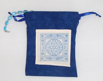 Star of David  prayer bag a bag for prayer beads and meditation objects with metal charm