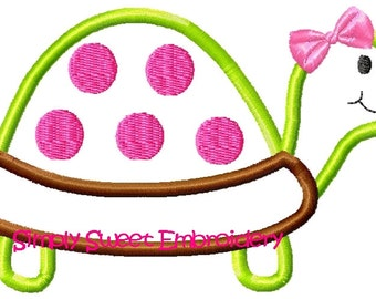 Cute Girl Turtle Machine Embroider Applique Design
