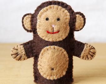 Felt finger puppet, monkey, animal puppet, storytime puppet