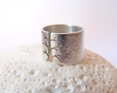 Autumn tree ring, rustic hammered Sterling silver ring, wide band ring, metalwork jewelry