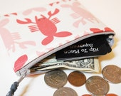 5 Inch Zipper Pouch - Red Lobsters