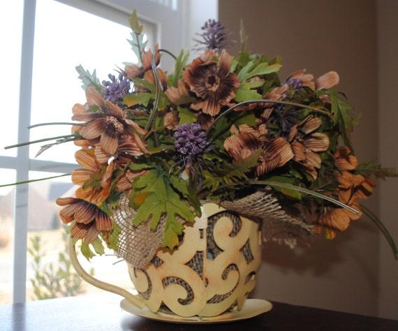 Floral Arrangement-Table Top Decor-Java Time Centerpiece Home Decor