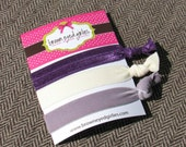 Elastic Hair Ties - Velvet Silver and Eggplant