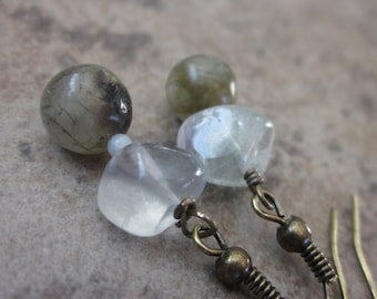 Labradorite, Fluorite, Amazonite Gemstone Earrings in Antiqued Brass. OOAK / One of a Kind Neutral, Natural Gemstone Earrings. For Her