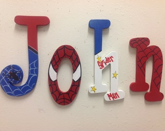 Spider man letters wood letters room decor,price per letter