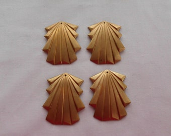 Art Deco Charms- Solid Brass Stamping- Vintage 1970's Set of 4