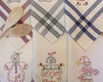 Christmas Tea Towels Pattern for Hand Embroidery by Bird Brain Designs