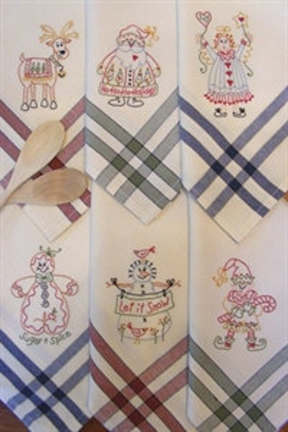 Christmas tea towels pattern for hand embroidery by bird brain - Free embroidery designs for kitchen towels ...