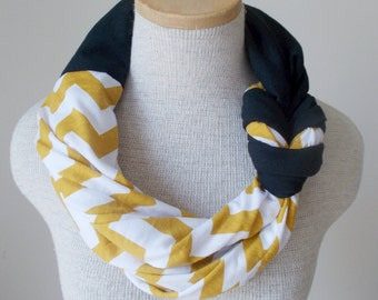 Half Braided Knot Scarf - Mustard and White Chevron and Black