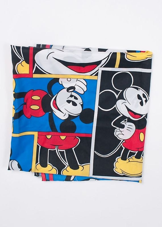 Triple Pleat Curtain Heading Vintage Mickey Mouse Flowers