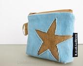 star COIN purse aqua blue corduroy with golden mustard star applique