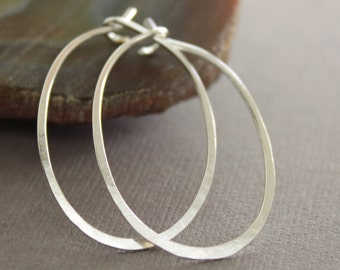 Artisan simple oval shape hoop sterling silver earrings -Minimalistic earrings - Simple earrings - Hoop earrings