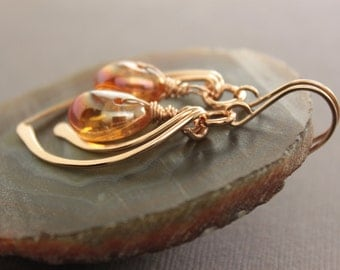 Cascade gold tone bronze earrings with amber color with metallic coating effect quartz stone