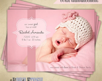 Baby Birth Announcement - Digital File - Rachel Amanda design