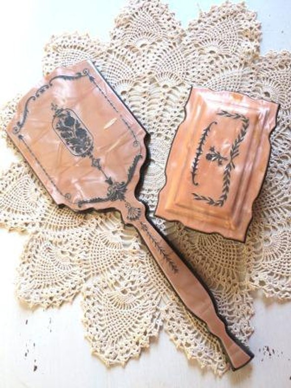 Antique Celluloid Peach Vanity Box and Hand Mirror Set
