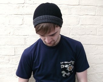 Mens beanie hat, two tone knitted menswear, custom made in any colour.