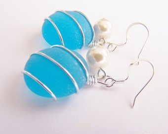 Bahama Blue Earrings - Sea Glass Bridesmaids Sets - Glass Pearl - Other Colors - Earrings available - Weddings - affordable - seaside