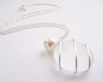 Seaglass Bridesmaids sets - Ghostly Clear Necklace - Glass Pearl - Other Colors - Earrings available - Weddings - affordable - seaside