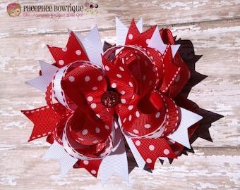 Lady Bug Hair Bow, Red and White Dots, Chevron, Baby Headband, Infant Headband, Newborn Headband, Birthday Bow, Baby Shower Gift, Photo Prop