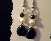 Fresh Water Pearl with Onyx Teardrop Earrings
