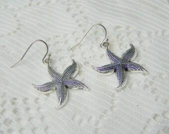 Earrings - Starfish  - Beach Wedding - Bridesmaids Gifts - Silver