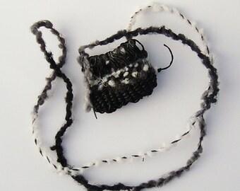 Woven Wishing Pouch Necklace,  Black White Grey,  Fuzzy Fiber Art Jewelry WLP8