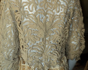 Unique Battenburg Lace Jacket Handmade Edwardian Antique Vintage Wearable 1910s