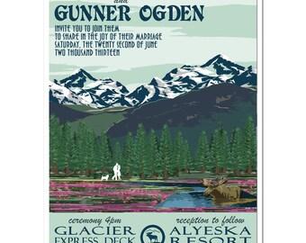 Vintage Alaska Mountain Invitation and Reply Postcard set - SAMPLE