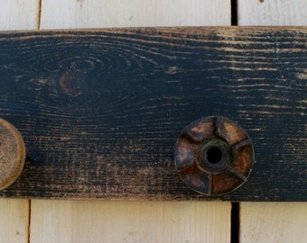 Entryway Storage - Wooden - Coat Rack - Rustic Shabby Cottage - Wall Hanging - Hooks - 32 Inch - Antique Bobbin Spools