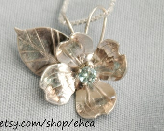 Handmade Sterling Silver Dogwood Flower with 3mm Topaz Necklace
