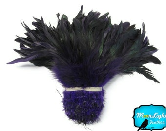 Wholesale Feathers, 1 Yard - PURPLE Half Bronze Strung Rooster Schlappen Feathers (bulk) : 2271