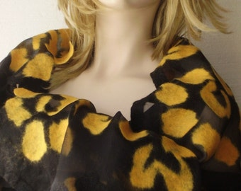 Unique Art Yellow  Big Handmade  Felted Flowers on Soft  Transparent Silk Scarf Shawl Wrap