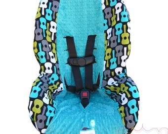 Toddler Car Seat Cover Groovy Guitars Lagoon with Teal