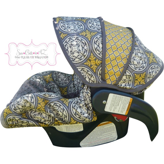 Infant Car Seat Cover- Moves to Toddler Aviary with Charcoal