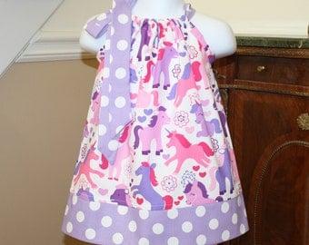 purple unicorn Pillowcase dress Michael Miller purple, pink, white, polka dot  3 mos.  Thru  4T  by Blake and Bailey