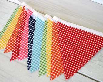 Birthday Decoration, Photography Prop, Cake Smash, Fabric Banner, Fabric Flags, Nursery Decor - Colorful, Rainbow, Gingham