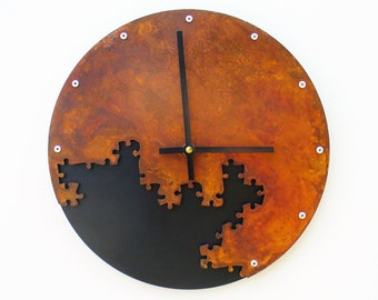 Puzzle III, Medium, Rustic Wall Clock, Unique Wall Clock, Modern Wall Clock, Steampunk Home, Industrial Decor, Metal Wall Art, Laser Cut