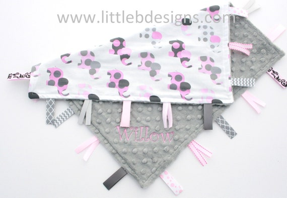 Personalized Elephant Tag Baby Blanket Ribbon Lovey - Girl Blanket Pink and Gray - Grey Nursery