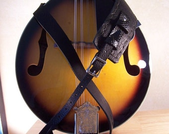 Crow Black Leather Fancy Mandolin Strap adjustable comfortable